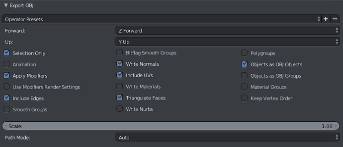 blender-exportsettings